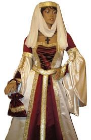 Brautkleid weiß,rot,gold,Mittelaltergewand exclusive aus dem Atelier Mittelalter - Fashion