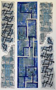 Im Labyrinth: Materialdruck auf Papier, 70 x 50 cm, 2012