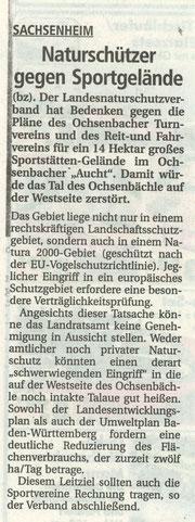 BZ über Stellungnahme LNV zu Planungen im Gebiet Aucht