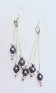 Schmuck Ohrringe mit blau grauen Glasperlen und Silberperlen