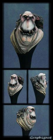 Buste d'ork albinos, par Graphigaut