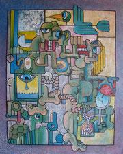 la belle et l'alambic acrylique, collage sur toile 100x81