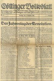 9. November 1919: Das Göttinger Volksblatt feiert die Revolution. StA