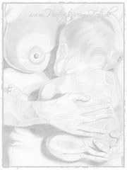 Gemaltes Portrait von Mama mit Baby