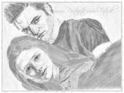 Edward und Bella mit Bleistift portraitiert