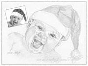 Baby mit Weihnachtsmütze - www.portraits-vom-foto.de
