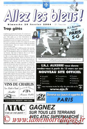 Programme  Auxerre-PSG  2003-04