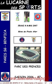 Programme pirate  PSG-Benfica  2006-07