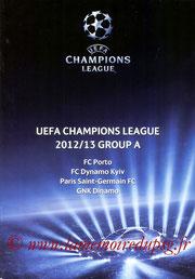 Programme  Dinamo Zagreb-PSG  2012-13