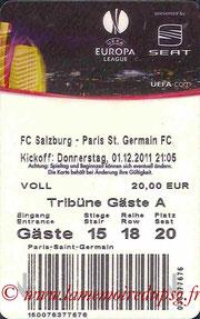Ticket  FC Salzburg-PSG  2011-12