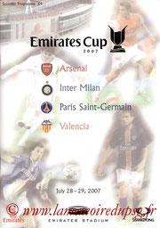 Programme Emirates Cup  Arsenal-PSG et PSG-Valence   2007-08