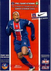 Programme  PSG-Saint Etienne  2005-06