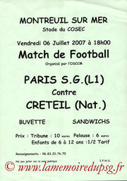 Affichette  PSG-Créteil  2007-08