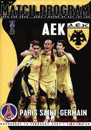 Programme  AEK Athènes-PSG  2006-07