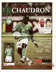 Programme  Saint Etienne-PSG  2004-05