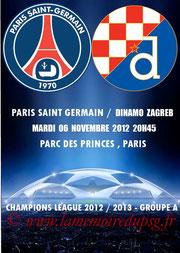 Programme pirate  PSG-Dinamo Zagreb  2012-13