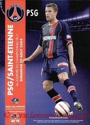 Programme  PSG-Saint Etienne  2004-05