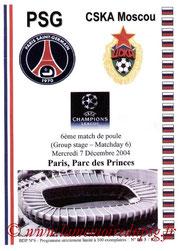 Programme pirate  PSG-CSKA Moscou  2004-05