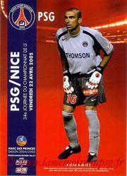 Programme  PSG-Nice  2004-05