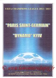 Programme  PSG-Dynamo Kiev  2012-13