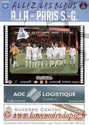 Programme  Auxerre-PSG  2006-07