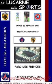 Programme pirate  PSG-AEK Athènes  2006-07