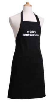 Schwarze Grillschürze für Männer mit Text My Grill's Hotter Than Yours