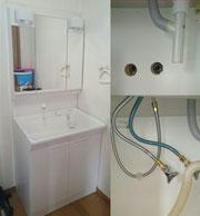 洗面化粧台三面鏡タイプ取替工事(1800㎜×750mm)・水のトラブルで困ったら、大阪・奈良の口コミ評判のいい水道屋【水道便利屋さん】まで、ご連絡ください!安心価格・作業前見積もり・確実な施工を心がけて営業しております。