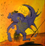 """""""Harald in action"""" Acryl auf LW 15x15"""