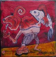 """""""Angel-Sachse"""" Acryl auf LW 15x15 (30.12.2010)"""