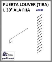 PUERTA LOUVER L a 30° (TIRA) PARA ARMAR EN 8 ESPESORES DE PERFIL