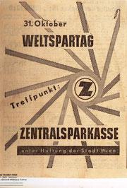 Inserat der Zentralsprkasse zum Weltspartag um 1956.