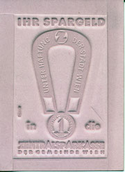 ihr spargeld in die zentralsparkasse. unter haftung der stadt wien (hufeisen). zentralsparkasse, heinz traimer, 1959, klischee.
