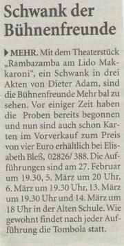 Niederrhein Nachrichten, Mittwoch 20.Januar 2010
