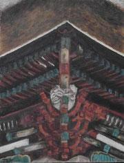 神社の楼門の面