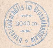 Der Hüttenstempel der alten Osnabrückerhütte zwischen 1899 und 1928