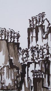 Steillage Tusche (Sepia auf Bütten) 2010