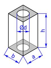 Prisma mit Grundflaeche eines Rechtecks mit Bohrung