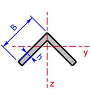 cross sectional area of a L-section rotated through 45°