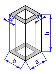 Prisma mit Grundflaeche eines Rechteck-Hohlprofils