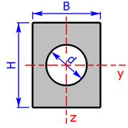 cross sectional area of a rectangle with clearance hole