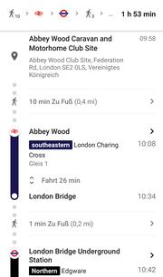 Quer durch London von Abbey Wood...