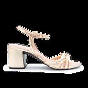 flexible Perfect Match Bridal Schuhe in Silber und 10 cm Block Absatz