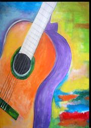 Gemälde, Leinwand, Kunst, art, Augenfreud, Original, Unikat, Acryl, Musik, Gitarre, Malerei, abstrakt, bunt, 6