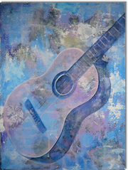 Gemälde, Leinwand, Kunst, art, Augenfreud, Original, Unikat, Acryl, Musik, Gitarre, Malerei, abstrakt, bunt, blau