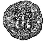 Seal of the Guild of the Holy Cross from William Hutton 1782 An History of Birmingham. Image now free of copyright downloaded from Wikipedia.