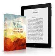 Bildbeschreibung: Abbildung des Taschenbuchs und eines Textauszugs auf einem Tablet-Computer