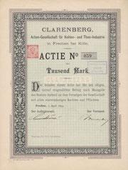 Aktie der Clarenberg AG für Kohlen- und Thon-Industrie aus Frechen von 1894
