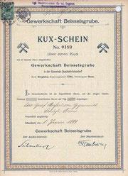 Kux-Schein der Gewerkschaft Beisselsgrube; hier ausgestellt auf Otto Graf Beissel von Gymnich, Schloss Frens