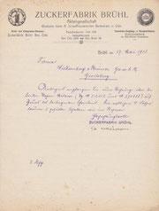 Rechnung der Zuckerfabrik Brühl aus dem Jahre 1913